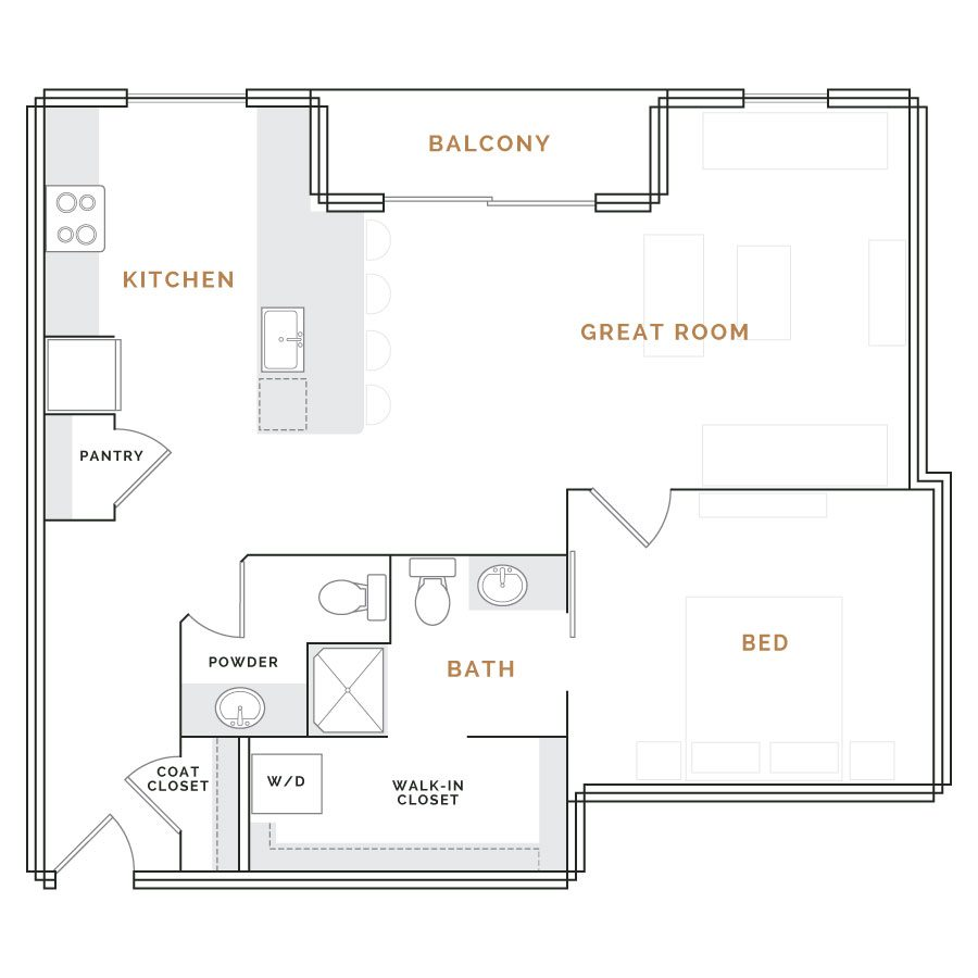 Apartment with balcony, great room, kitchen, bathroom; bedroom with walk in closet and bathroom with shower.