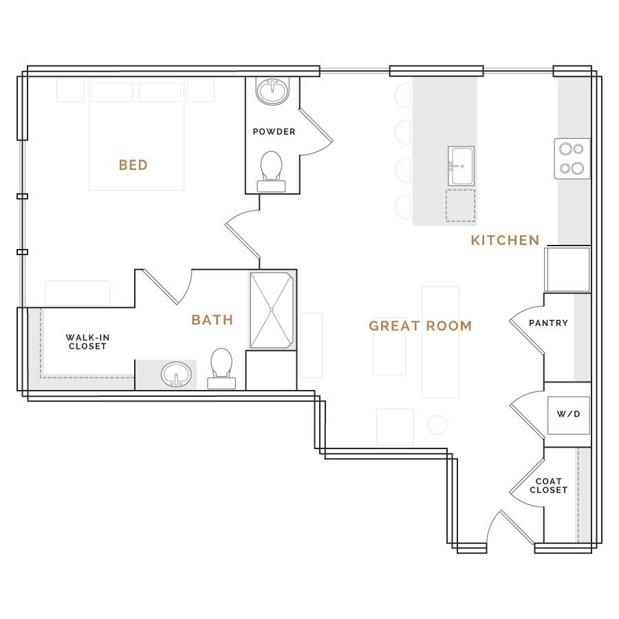 Apartment with great room, kitchen and bathroom; bedroom with closet and bathroom.