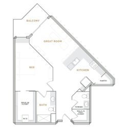 Wedge-shaped apartment with balcony, great room, kitchen and bathroom; bedroom with walk in closet and bathroom.