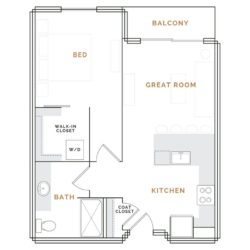 Apartment with balcony, great room, kitchen and bathroom; bedroom with walk in closet.