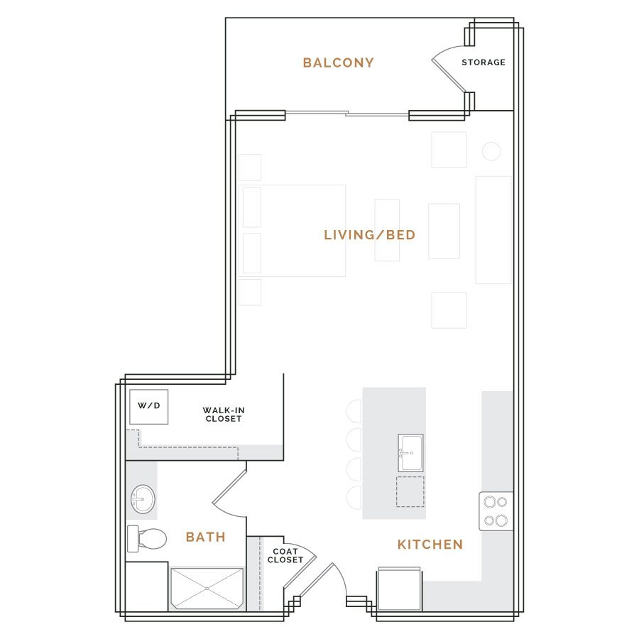 Studio apartment with living room, kitchen, walk in closet and bathroom.