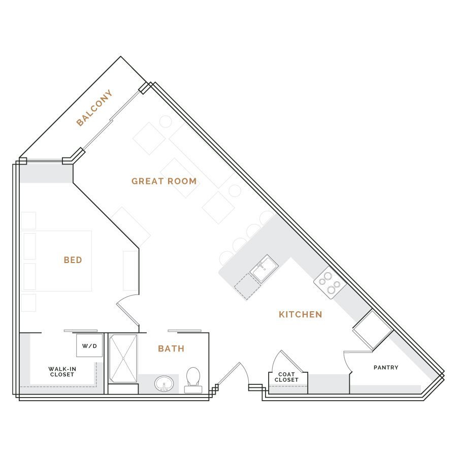 Wedge shaped apartment with balcony, great room, kitchen and bathroom; bedroom with walk in closet.