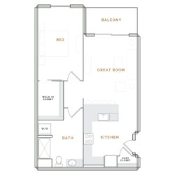 Apartment with balcony, great room and kitchen; bedroom with walk in closet and bathroom.