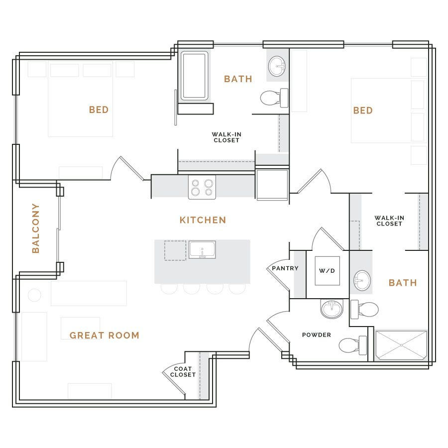 Apartment with balcony; great room and kitchen; two bedrooms with walk in closets and bathrooms.