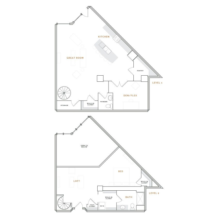 Wedge shaped townhouse apartment with great room, kitchen, den and bathroom; bedroom with walk in closets and bathroom.