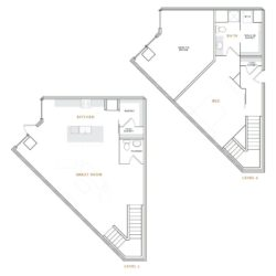 Wedge shaped townhouse apartment with great room, kitchen, and bathroom; bedroom with walk in closet and bathroom.