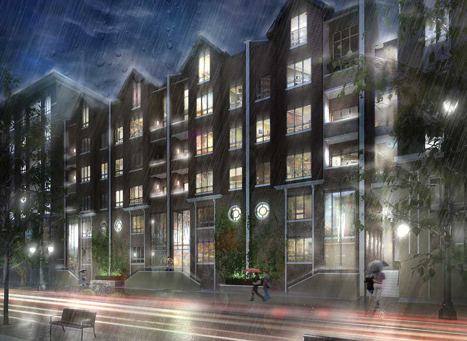 Rendering of a rainy night outside Hardware District with warmly lit windows and trails of car tail lights passing by.