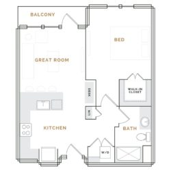 Apartment with balcony; great room with desk, kitchen and bathroom; bedroom with walk in closet.