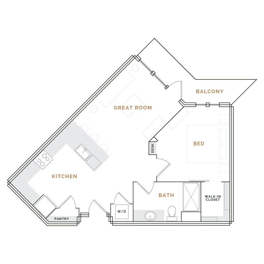 Wedge shaped apartment with balcony; great room with kitchen and bathroom; bedroom with desk and walk in closet.