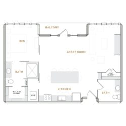 Apartment with wide balcony; great room with kitchen and bathroom; bedroom with walk in closet and bathroom.