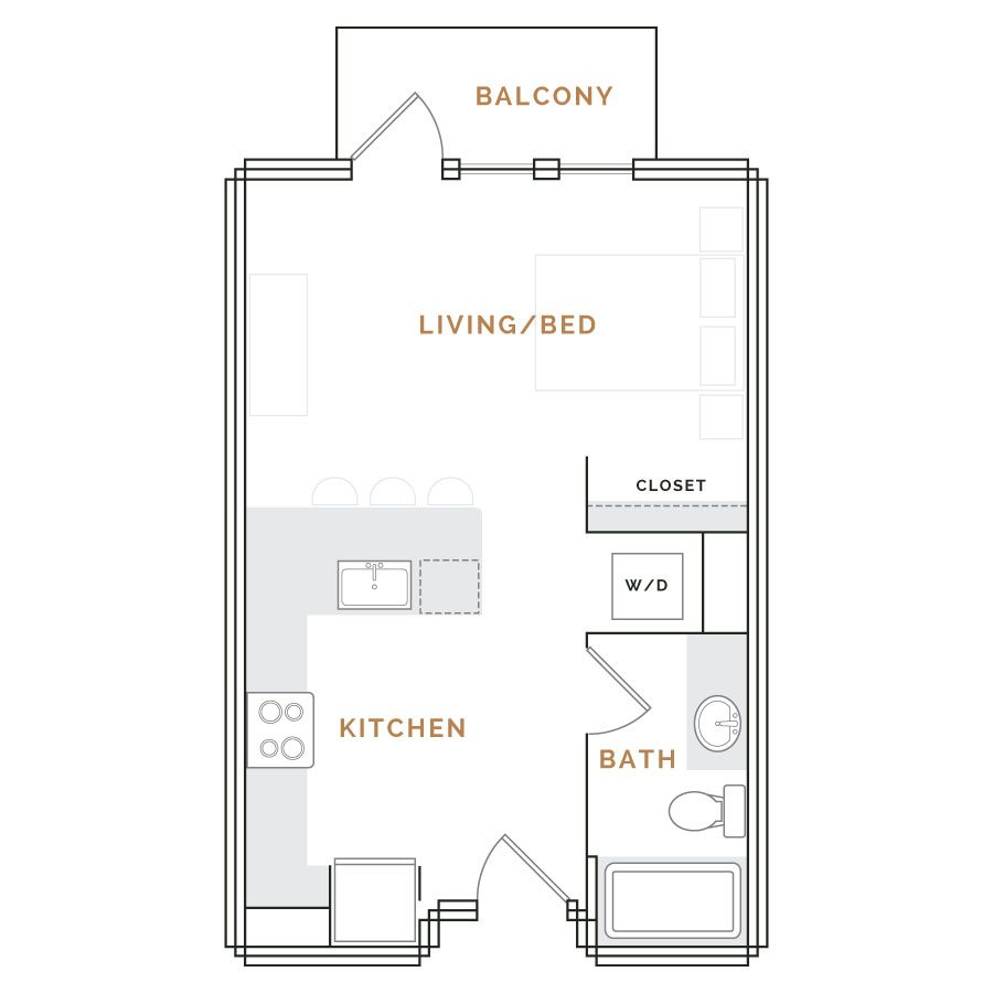 Studio apartment with balcony; living area with kitchen, bathroom, and closet.