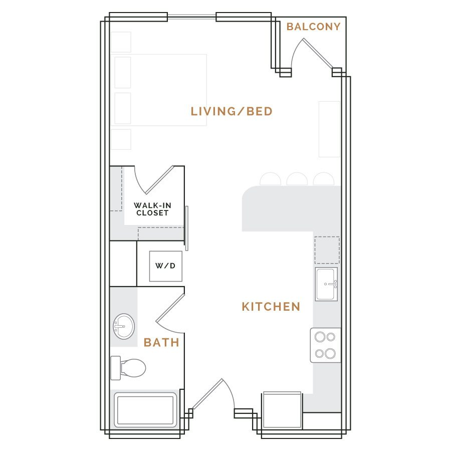 Studio apartment with balcony: living area with kitchen, bathroom and walk in closet.