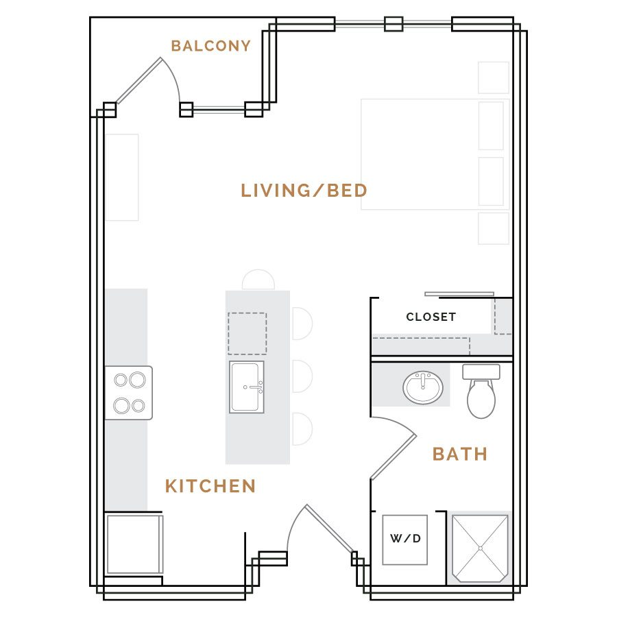 Studio apartment with balcony; living area with kitchen, bathroom and closet.