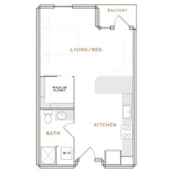 Studio apartment balcony, living room, kitchen, walk in closet, bathroom.