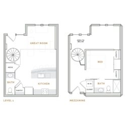 Loft apartment with spiral staircase; great room, kitchen and bathroom; bedroom with closets and bathroom.