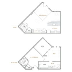 Wedge shaped loft apartment; great room, kitchen and bathroom; bedroom with walk in closet and bathroom.
