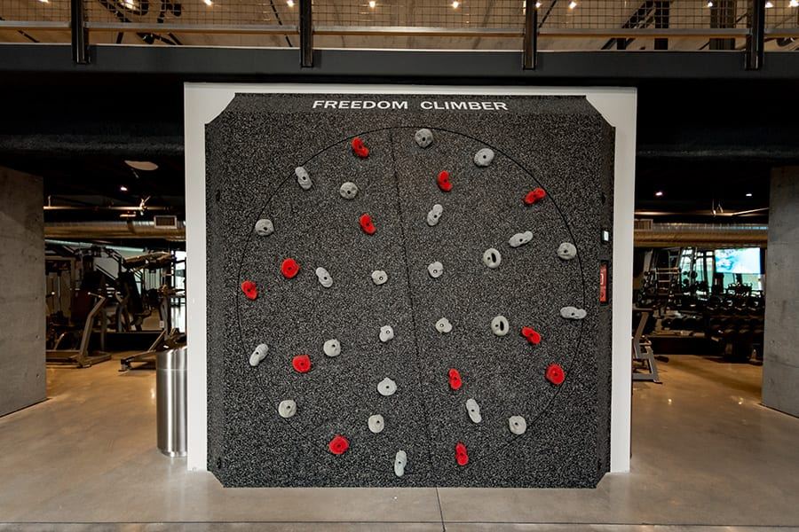 Freedom Climber rotating rock climbing wall in the Hardware District fitness center.